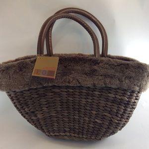 Handbags - Bath and body works brown woven straw faux fur bag